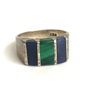 Vintage Taxco Lapis Malachite Ring Sterling Silver